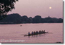 Rowers by moonlight on the Charles River, Cambridge MA