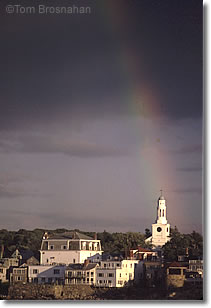 Rainbow on church, Rockport MA