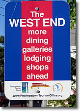 West End sign, Provincetown, Cape Cod, Massachusetts