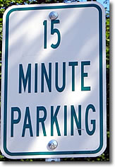 15 Minute Parking sign, Woods Hole, Cape Cod, Massachusetts