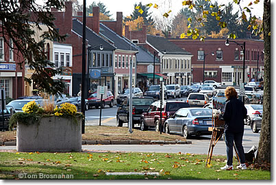 Artist paints Main Street in Concord, Massachusetts