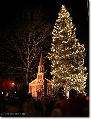 Lighting the holiday tree, Concord MA