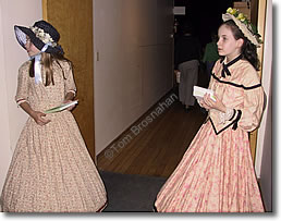 "Girls in 19th-century costume for ""Little Women,"" Concord MA"