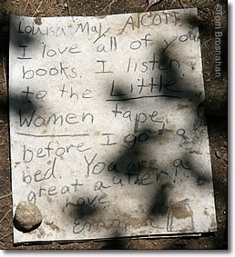 Note at Louisa May Alcott's Grave, Sleepy Hollow Cemetery, Concord MA