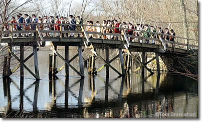 Minutemen marching over Old North Bridge, Concord, Massachusetts