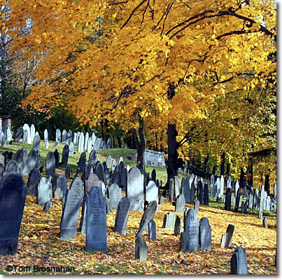 North Burying Ground in autumn foliage color, Concord MA