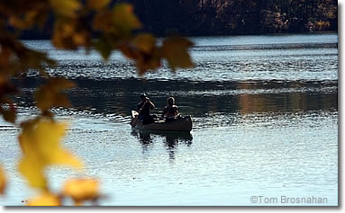 Canoeing on Walden Pond, Concord MA