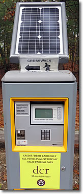 Solar-powered parking pass machine, Walden Pond, Concord MA