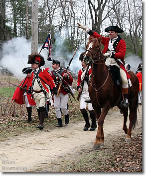 Redcoats respond to a Minuteman attack, Patriots Day, Lexington MA
