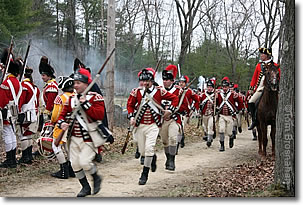 Redcoats react to Minuteman ambush, Lexington MA