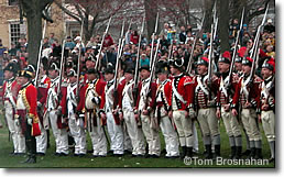 Redcoats line up on Lexington Green on Patriots Day