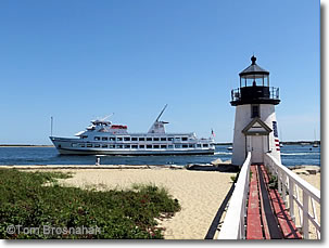 Ferryboat 'Great Point' at Brant Point Lighthouse, Nantucket Island, Massachusetts