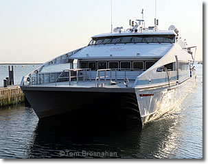 Fast Ferry m/v Grey Lady arriving at Straight Wharf, Nantucket MA