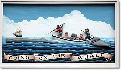 """Going on the Whale,"" wood-carved relief tableau on the Whaling Museum, Nantucket MA"