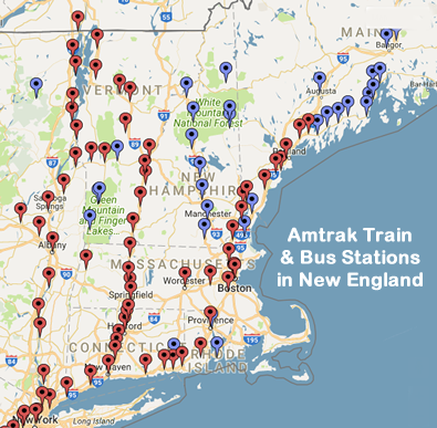 Train Travel in New England USA: Amtrak, Metro North, S ... on road map western ma, massachusetts western ma, map of berkshires massachusetts,