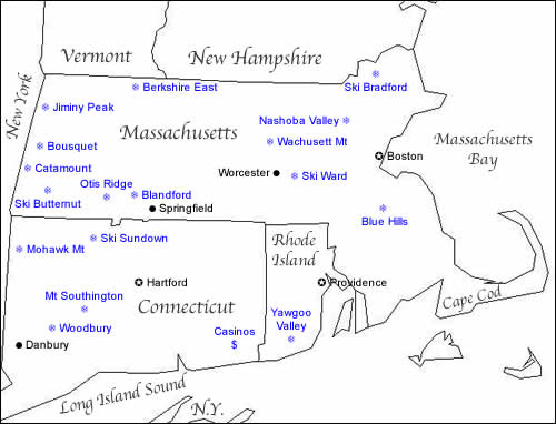 Map of Ski Resorts in Southern New England