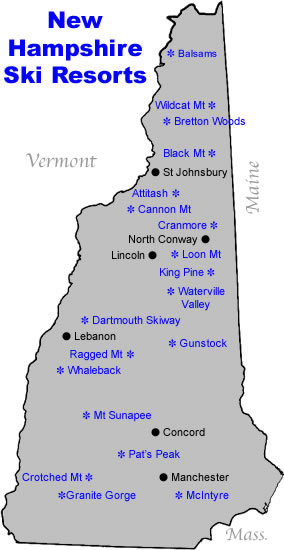 New Hampshire Ski Map