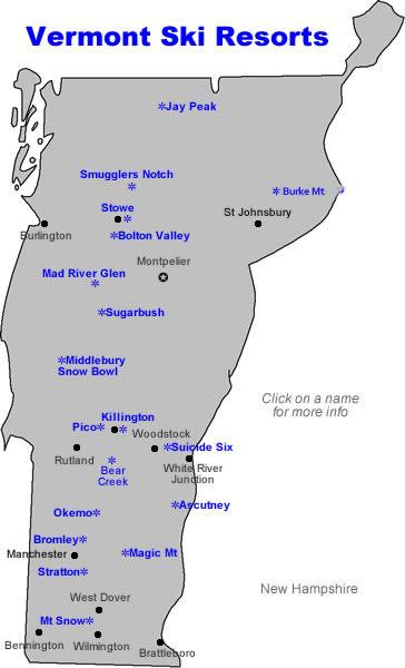 Vermont Ski Map