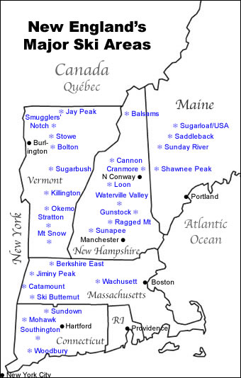 Map Of Major New England Ski Resorts - Eastern-us-ski-resorts-map