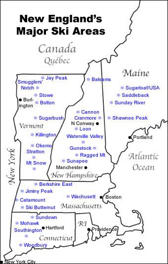 Map Of Major New England Ski Resorts