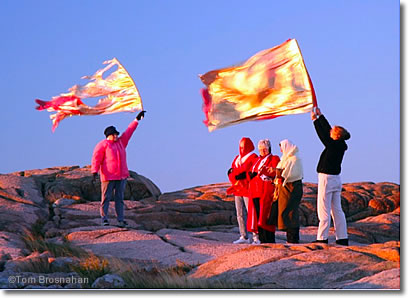 Greeting the dawn on Cadillac Mountain, Acadia National Park, Bar Harbor, Maine