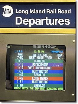 Long Island Rail Road Departures monitor, Penn Station, New York City