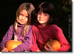 Girls with Pumpkins, New England