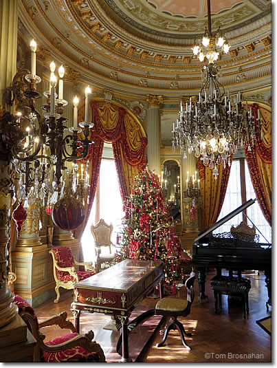 music room of the breakers at christmas newport rhode island