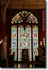 Stained glass window in Marble House mansion, Newport, Rhode Island