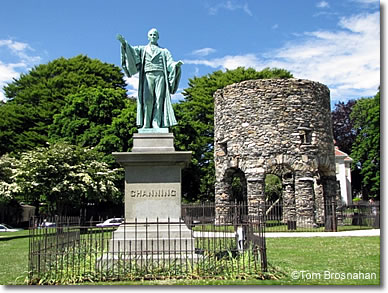 Old Stone Mill & Channing statue, Touro Park, Newport RI