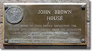 Plaque on the John Brown House Museum, Providence RI