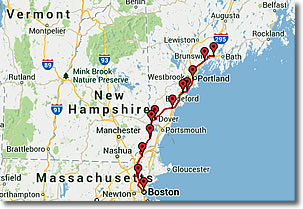 Amtrak's Downeaster train route map
