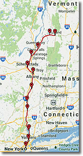 Amtrak's Ethan Allen Express train route map