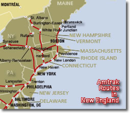 Train Travel In New England USA Amtrak Metro North Shore Line - New england map us