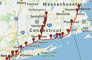 Map of Amtrak Trains in New England