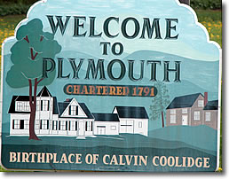 Welcome to Plymouth, Vermont Sign