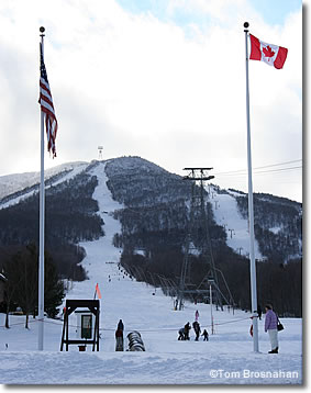 US & Canadian Flags, Jay Peak Ski Resort