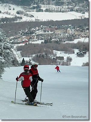 Skiers at Stratton Mountain Ski Resort, Vermont